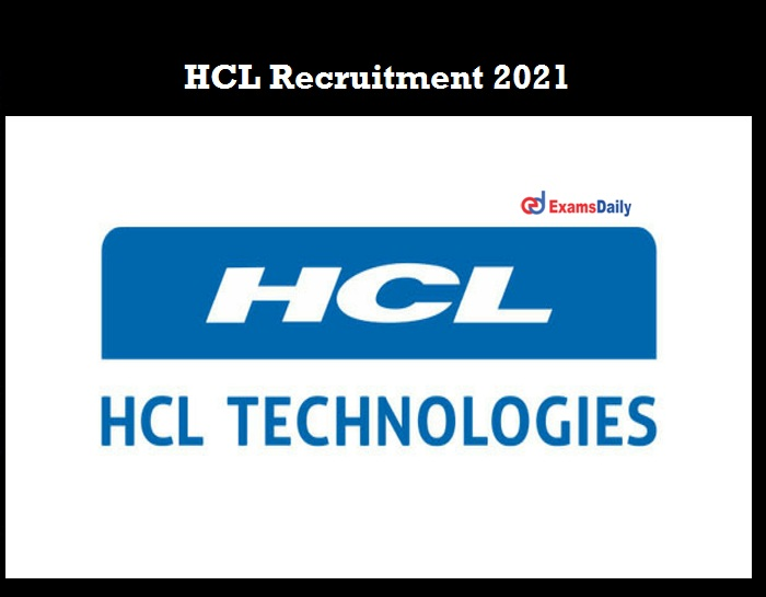 HCL Recruitment 2021 OUT