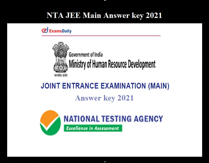NTA JEE Main Answer key 2021
