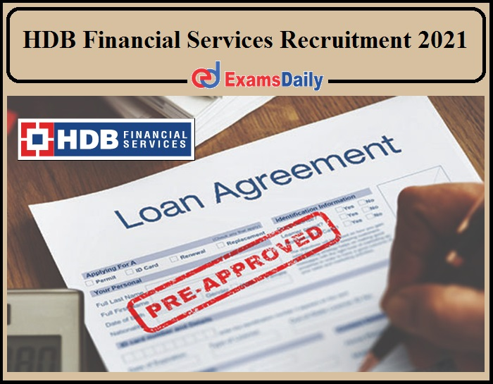 HDB Financial Services Job Vacancy 2021 Notification Released- Any Graduates Can Apply!!!