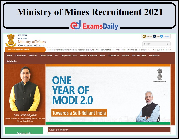 Ministry of Mines Recruitment 2021 Released- Apply Now!!!