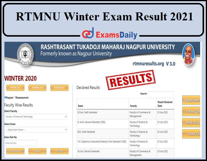 Nagpur University Winter 2020 Result Declared- Direct Link to